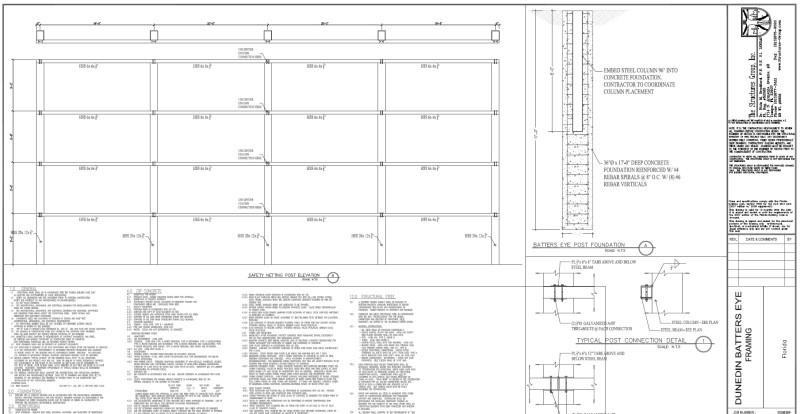 Dunedin Blue Jays Batter's Eye Structure Design Build Engineered Drawing